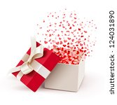 open gift box with hearts... | Shutterstock .eps vector #124031890
