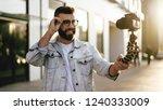bearded male hipster blogger in ...   Shutterstock . vector #1240333009