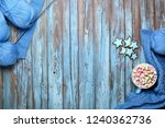 blue wool yarn with knitting... | Shutterstock . vector #1240362736