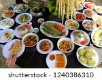 variety of food on party table  ... | Shutterstock . vector #1240386310