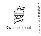 save  earth outline icon with... | Shutterstock .eps vector #1240390513