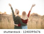 two young women are looking on...   Shutterstock . vector #1240395676