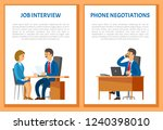 job interview and phone... | Shutterstock .eps vector #1240398010