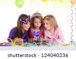 Children Happy Girls Blowing...