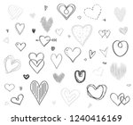 hand drawn multicolored hearts... | Shutterstock . vector #1240416169