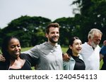 happy diverse people together... | Shutterstock . vector #1240454113