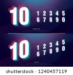 glitched numbers alphabet font... | Shutterstock .eps vector #1240457119