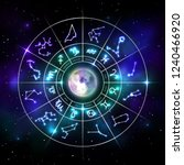 zodiac circle with astrology... | Shutterstock .eps vector #1240466920