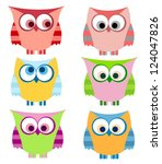 Stock vector owl set with stripes 124047826