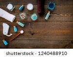 spa set with sea salt  towel ... | Shutterstock . vector #1240488910