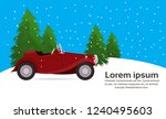 red retro car happy new year... | Shutterstock .eps vector #1240495603