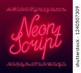 neon script alphabet font. neon ... | Shutterstock .eps vector #1240507309
