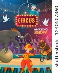 circus show poster of bear on... | Shutterstock .eps vector #1240507360