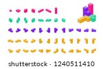 crystal cube. 3d block set.... | Shutterstock .eps vector #1240511410