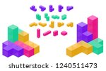 crystal cube. 3d block set.... | Shutterstock .eps vector #1240511473