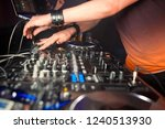 dj mixes the track in the... | Shutterstock . vector #1240513930