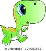 cute tyrannosaurus rex dinosaur ... | Shutterstock .eps vector #124051933