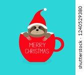 merry christmas. sloth sitting... | Shutterstock . vector #1240529380