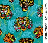tigers seamless pattern  old... | Shutterstock .eps vector #1240538896