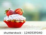 tasty strawberry cream cake.... | Shutterstock . vector #1240539340