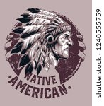 native american chief | Shutterstock .eps vector #1240555759