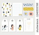 childish notes  stickers ...   Shutterstock .eps vector #1240555789