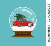 merry christmas glass ball with ... | Shutterstock .eps vector #1240569283