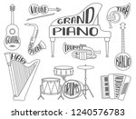 set of musical instruments with ... | Shutterstock .eps vector #1240576783