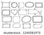 hand drawn set of simple frame... | Shutterstock .eps vector #1240581973
