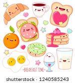 breakfast time. set of cute... | Shutterstock .eps vector #1240585243