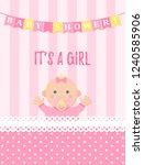 baby shower girl card. vector... | Shutterstock .eps vector #1240585906