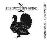 poultry  turkey meat cut lines... | Shutterstock .eps vector #1240598239