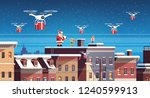 santa claus with elves on roof... | Shutterstock .eps vector #1240599913