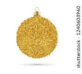 golden glitter christmas ball | Shutterstock .eps vector #1240603960
