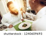 happy man and woman have lunch...   Shutterstock . vector #1240609693