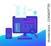 programming on monitor and... | Shutterstock .eps vector #1240609750