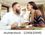 happy man and woman are having...   Shutterstock . vector #1240610440