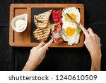top view breakfast eggs and...   Shutterstock . vector #1240610509