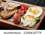 close up breakfast eggs and...   Shutterstock . vector #1240610779
