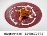 close up of red cream soup with ...   Shutterstock . vector #1240611946