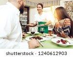 romantic dinner happy men and...   Shutterstock . vector #1240612903