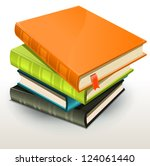 books and pics albums pile ... | Shutterstock .eps vector #124061440