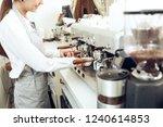 close up of female barista...   Shutterstock . vector #1240614853