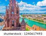 riverside of rhine in basel... | Shutterstock . vector #1240617493