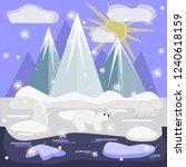 two large polar bear walks... | Shutterstock .eps vector #1240618159