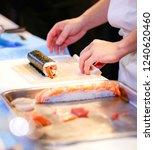 chef hands preparing japanese... | Shutterstock . vector #1240620460