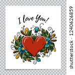 template of valentines day card.... | Shutterstock .eps vector #1240626859