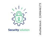 padlock and cogwheel  secure... | Shutterstock .eps vector #1240646173