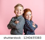 stylish little school boy and... | Shutterstock . vector #1240655383