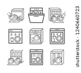 dishwasher line icons set.... | Shutterstock .eps vector #1240660723